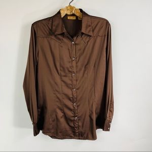 Wrangler Satin Rhinestone Snaps Shirt Sz Medium